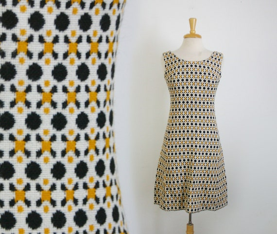 1960s geometric print wool a-line dress in black white and marigold yellow, size small or medium