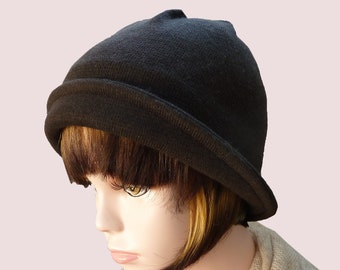Bryant Park Bell Beanie Hat with Convertible Brim, Fitted Soft and Stretchy Cloche  in Dark Chocolate Brown Wool Knit