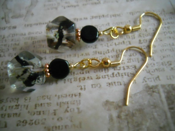 Black Twisted Glass Beaded Earrings Copper Clear Gold Jewelry