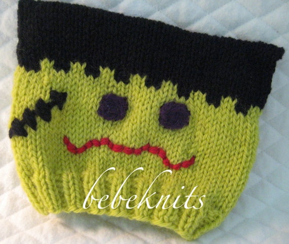 Halloween Hand Knit Fun Frankenstein Baby Hat