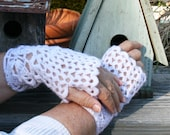 White Fingerless Gloves.  Lace Crochet.  Mohair-Poly-Acrylic with Sequins.  Perfect w/dresses or jeans.