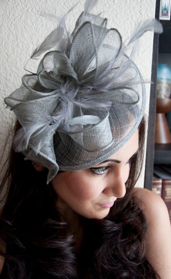 "Gray Fascinator - ""Penny"" Mesh Hat Fascinator with Mesh Ribbons and Gray Feathers"