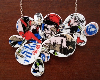 SALE! Goodwill Games Necklace - Recycled China Jewelry- Material+Movement