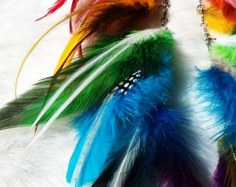 Namaste ~ Feather Earrings : Chakra Colors - Silver Chain - Red/Orange/Yellow/Green/Blue/Turquoise/Violet/White Feathers