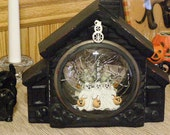 TRAPPED in a HAUNTED HOUSE  3 Scared Ghosts Upcycled Altered Old Clock Case Centerpiece Decoration Prop