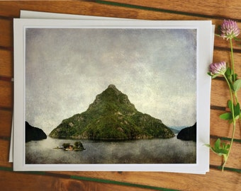 Whimsical photo art, surreal landscape from Norway, modern Norwegian art, fjord picture, 5x7 print