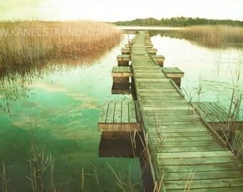 Nature Photography - Swedish Lake on Sunset - Boardwalk - Vintage Effect - Fine Art Photography Home Decor 6x10