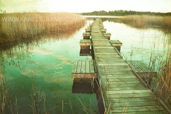 Nature Photography - Swedish Lake on Sunset - Boardwalk - Vintage Effect - Fine Art Photography Home Decor 6x10