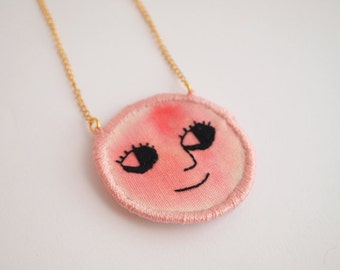 Happy Red Face, embroidered necklace