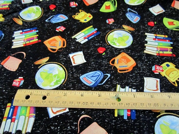 School Days Tossed School Supplies on Black by Quilting Treasures BTY