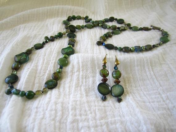 Versatile Long Necklace or Bracelet and Earring Set Green Teal