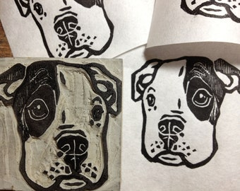 """Pitbull Puppy stamp - 2"""" x 2"""" hand carved linoleum stamp - Made to Order"""