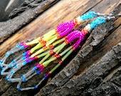 "Colorful Bright Long Peyote Stich Earrings: tassle, summer, rainbow, silver, citrus ""Margarita"""
