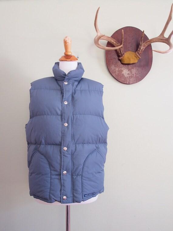 Vintage Down Vest Medium  //  Puffy Ski Vest in Gray