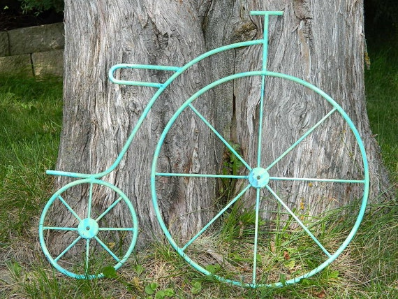 RESERVED for STACIA Shabby Painted Vintage Metal Bicycle - Green and Turquoise
