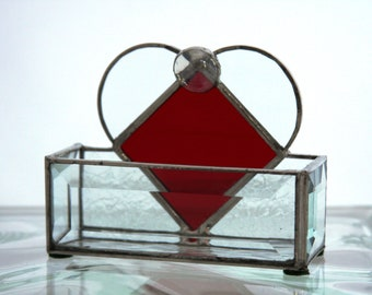 I Heart You Stained Glass Business Card Holder