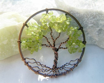 Peridot Tree of Life Necklace Copper August Stone