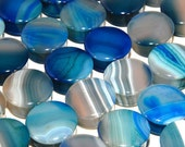 "Single Flared Blue Agate Plugs - 8g, 6g, 4g, 2g, 0g, 00g, 7/16"", 1/2"", 9/16"", 5/8"", 3/4"", 7/8, 1"""