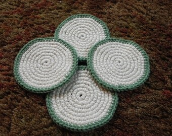 Ivory with Sage Border Coasters - Set of 4