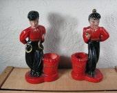Vintage Pair of Asian Dancers Chalkware Figures Planters Hand Painted Oriental Decor 1950's