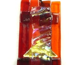 SALE Pendant of Red, Orange & Gold w/ Dichroic Fused Glass