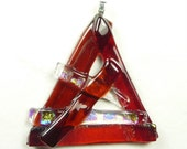 Pendant of Reds Fused Dichroic Glass
