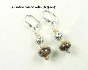 Earrings of Organic Lampwork Beads