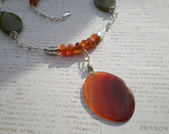 November Blaze necklace, one of a kind beaded jewelry by greygirldesigns on Etsy, red agate, sterling silver, fancy jasper