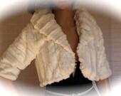 White fur bolero Ivory wedding shrug jacket bridal party reception