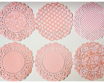Parisian Lace Doily Melon Berry for Scrap booking or card making / pack