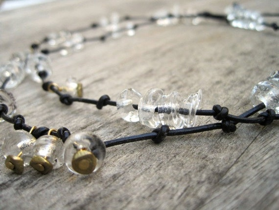 Long Handmade Glass Borocilicate Bead Necklace on Leather Knotted Strand