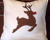 Reindeer Holiday Pillow Cover 16 x 16 Inch