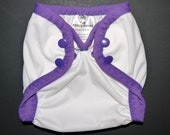 Diaper Cover - Newborn - White with Grape SECOND