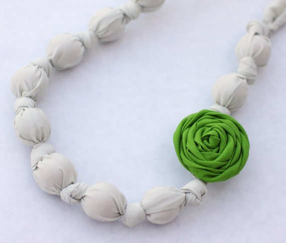 Green & Pale Gray Beaded Rosette Necklace