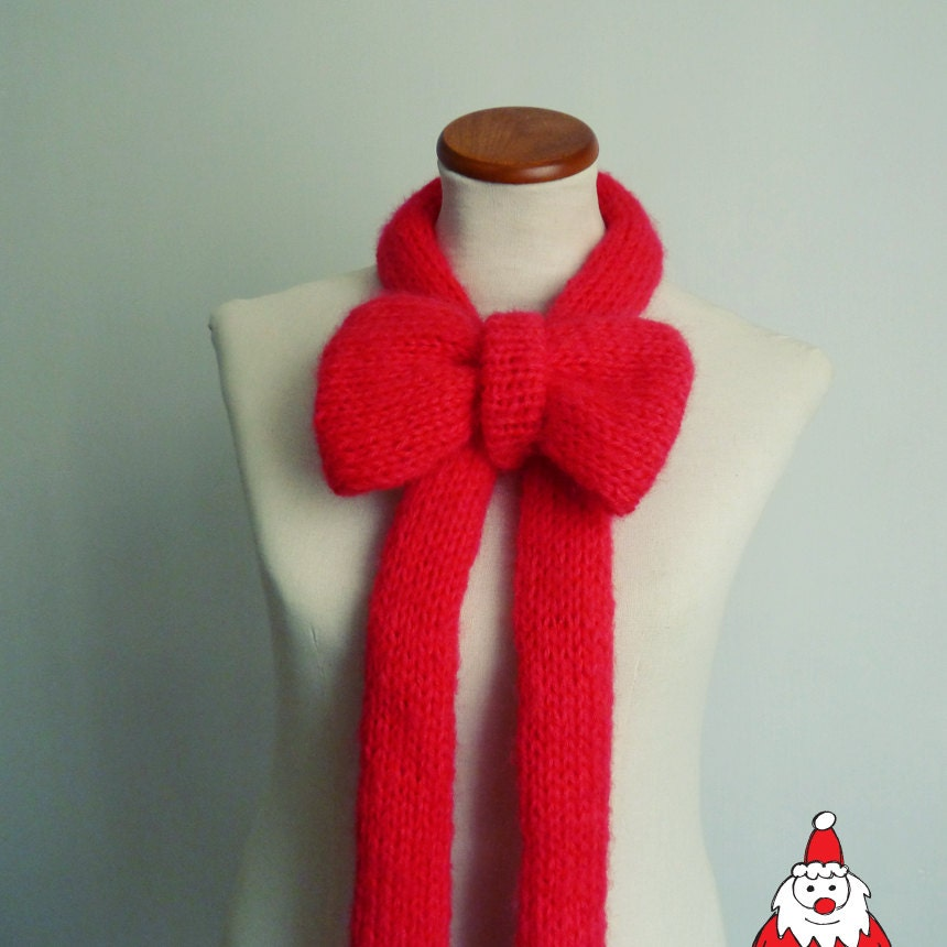 Easy Scarves Knit Pattern Bow Scarf PDF easy Knitting by bySol
