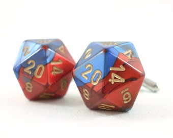 Metallic Blue Red and Gold D20 Cuff Links -  D20 Cufflinks Dice Cufflinks Gamer Cufflinks RPG Cufflinks D20 Cuff Links Geek Cufflinks