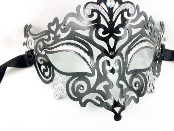 The Black Jester - Filigree Venetian Mask - Ready to Ship