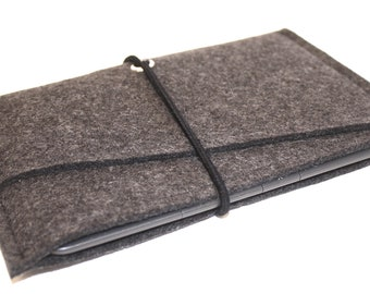 Kindle, e-Reader, Nook Tablet Wool Felt Sleeve with Double Pocket and Elastic Strap Anthracite