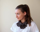 Neckwarmer lacy  crochet - chocolate cocoa brown cowl scarf  lace fashion