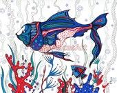 "Sea Creatures Fish Ocean ORIGINAL Painting Nautical illustration Fantasy Blue Red Navy 11""x14"" SALE by Olena Baca"