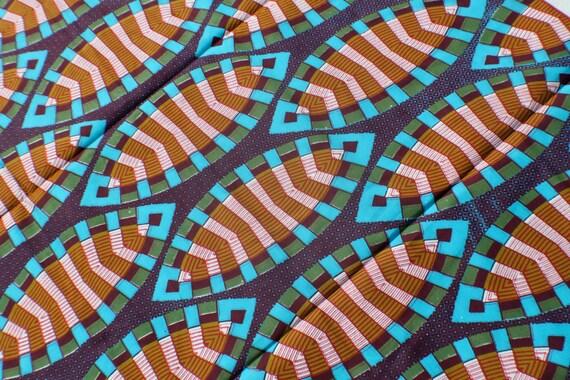 Batik Ankara African Wax Print Fabric Purple Aqua Mustard