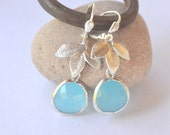 Ocean Blue Teardrop and Silver Leaf Dangle Earrings Jewelry Gift for Her.  Free Shipping.