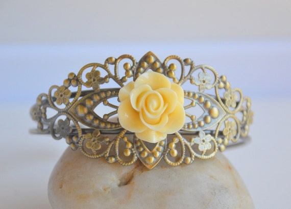 Vintage Style Ivory Rose on Antique Brass Cuff Bracelet BLACK FRIDAY SALE