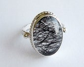 Black Rutilated Quartz and Sterling Ring, Jewelry One of a Kind Handmade