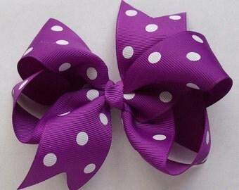 Hair Bow - Purple Polka Dot - Grosgrain Ribbon