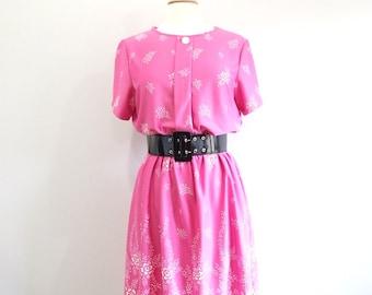 Pink Floral Dress Vintage Short Sleeve Day Dress - L
