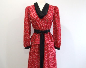 Vintage Peplum Dress 70s Does 40s Ruffled Red Dress - S/M