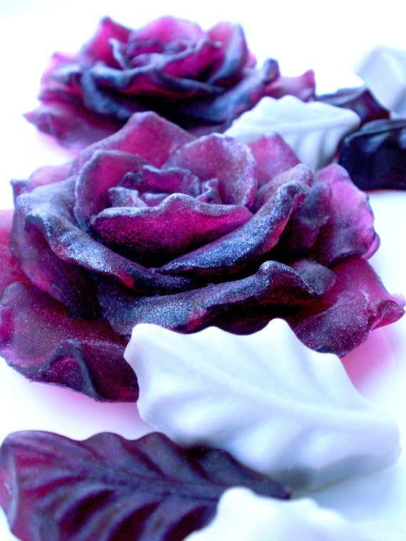 ROSE FLOWER SOAP,  Deep Cabernet Red Roses with Leaves, Scented in Love Spell, Vegetable Based, Handmade