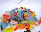 1 pound tumbled glass, colorful hand blown pieces