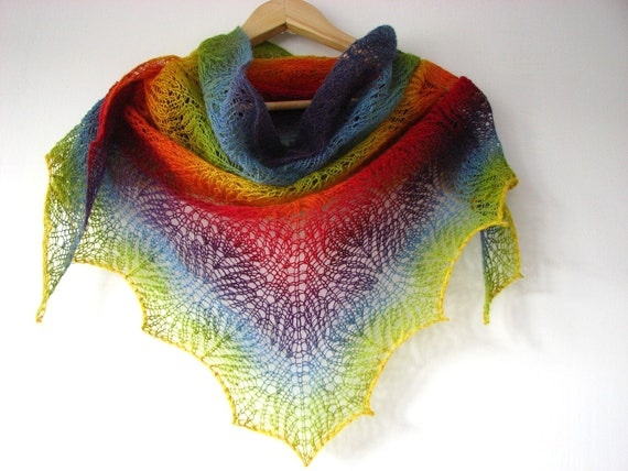 Colorful Chameleon - hand knitted shawl